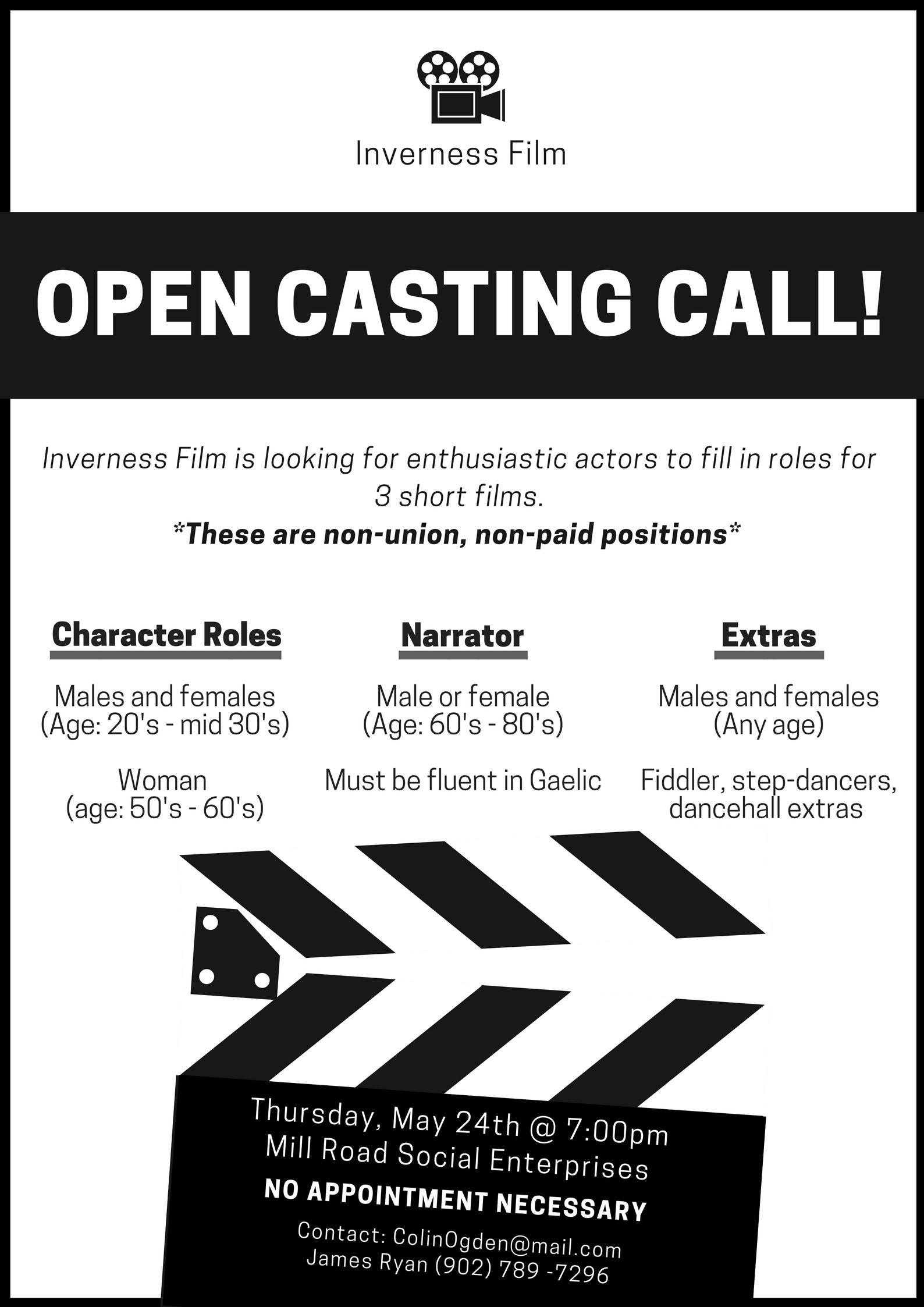 open casting call in inverness! | gocapebreton